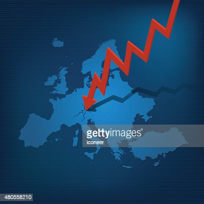 Europe map with arrow crashing on map blue background : Vector Art