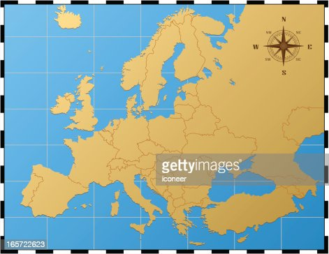 europe map with pass rose vector art ty images