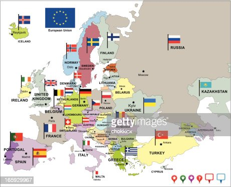 Europe Map With Flags And Pin Icons Vector Art Getty Images - Europe map