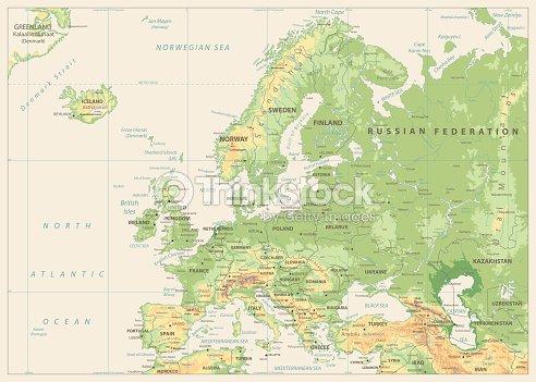 Europa Physische Karte Retrofarben Keine Bathymetrie Vektorgrafik