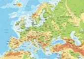 Highly detailed colored vector illustration of Europe map -.borders, countries and cities - illustration.