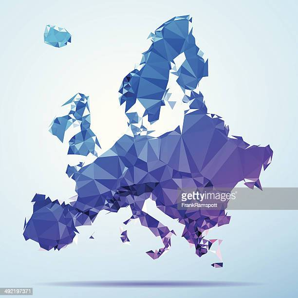 Europe Polygon Triangle Map Blue