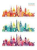 Europe skyline detailed silhouette. Travel and tourism background Vector illustration