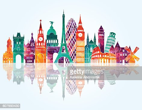 Europe skyline detailed silhouette. Vector illustration : Vector Art