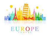 Europe Travel Landmarks. Vector and Illustration