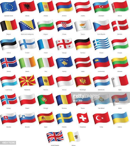 Europe et agitant des drapeaux-Illustration