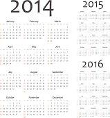 Simple european 2014, 2015, 2016 year vector calendars. EPS10.