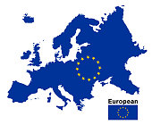 european flag map on a white background