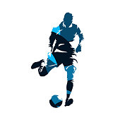 European football player kicking ball, soccer. Isolated vector silhouette. Front view. Team sport