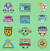 European football soccer lable vector embleme template team school design championship elements. Tournament icon football symbol. Team badge sport competition.