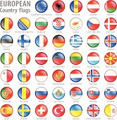 Hi detail vector shiny buttons with all European flags. Every flag is isolated on it's own layer, each properly named with its country name.