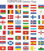 Full set of all European countries High Quality Vector National simple flags. Vector file is layered with each flag on its own properly named layer.