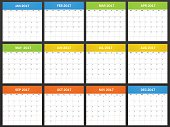 European Planner blank for 2017. Scheduler, agenda or diary template. Week starts on monday