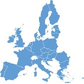 Countries of EU. Each is separate shape. In alphabetical order in layers panel. Easy to find and edit or recolor.