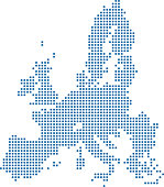 This abstract dotted European Union map is accurately prepared using the overlaid vector map of the European Union with highly detailed information. The map is prepared by a GIS and remote sensing spe