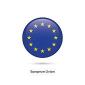 European Union flag - round glossy button. Vector Illustration.