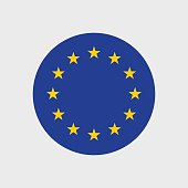 Set of vector icons with European Union flag
