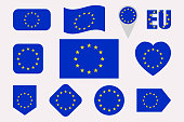 European Union flags set. Flat isolated icons. eu flags collection. Web, economic, political pages, travel, geographic design elements. different shapes. heart, arrow, circle. Vector illustration