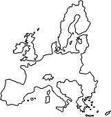 European Union map of black contour curves of vector illustration