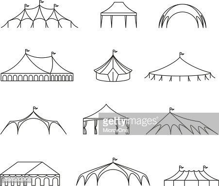 Event Und Hochzeit Im Freien Festzelt Zelte Vektor Linie Symbole