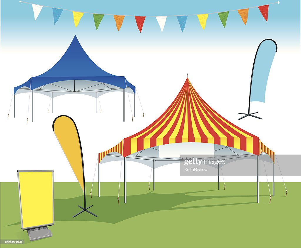 Event Tent with banners, flags and signage : Vector Art