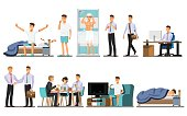 Everyday life ,Man Daily Routine People character  ,Vector illustration