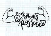 everything is possible card. Hand drawn lettering poster. Positive and motivational quote. Ink illustration. Modern brush calligraphy.