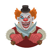 The evil red-haired clown with knives he smiles, he scares knives that have interbred with each other like bones with a skull!