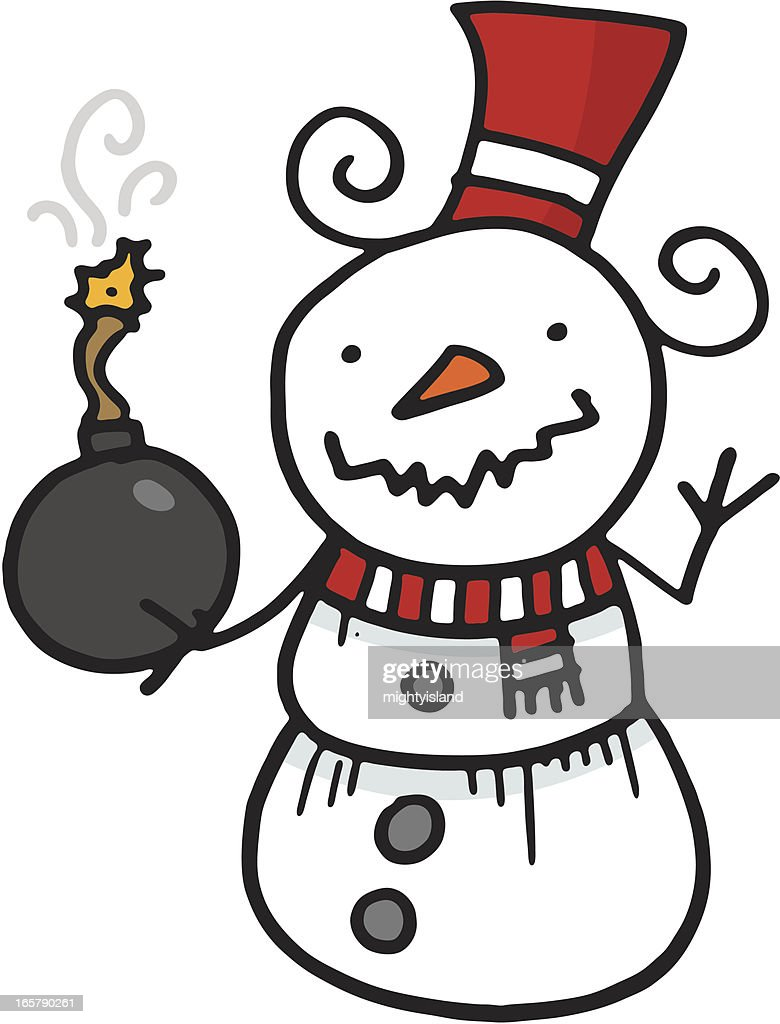 Evil Snowman, Carrot Nose, Red Scarf And Bucket Stock Vector ...