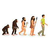Evolution ape to man process isolated. Evolutionary led to emergence of anatomically modern humans. Physical anthropology, primatology, paleontology, evolutionary psychology, genetic concepts. Vector