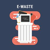 e-waste recycle bin, flat design.