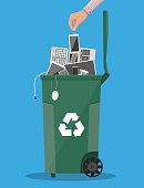 E-waste recycle bin container with old computer equipment, phones, laptop, mouse, keyboard. Vector illustration in flat style
