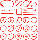 Exam marks and notes for learn testing. Red grade results mark for test school check. Vector illustration