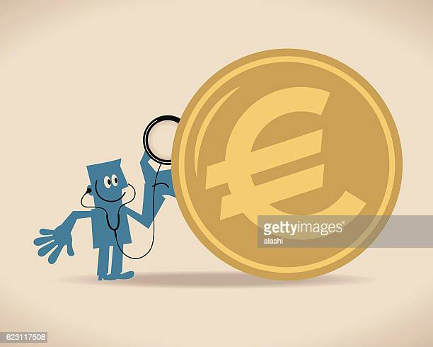 Examination of Euro Currency Coin. Businessman with stethoscope on ladder