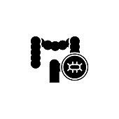 Examination of the intestine black icon concept. Examination of the intestine flat  vector website sign, symbol, illustration.