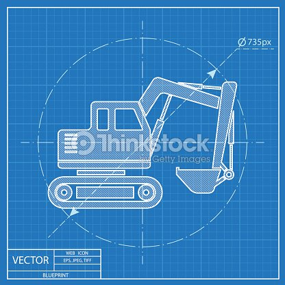 Excavator vector blueprint icon vector art thinkstock excavator vector blueprint icon vector art malvernweather Choice Image