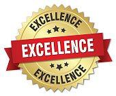 excellence 3d gold badge with red ribbon
