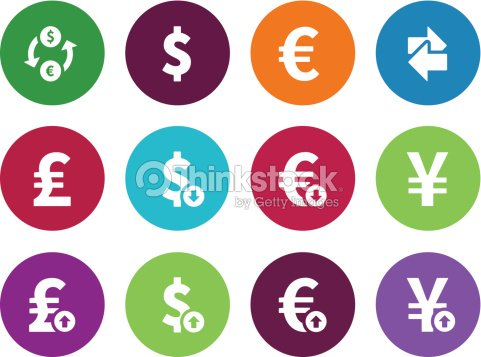 Exchange Rate Circle Icons On White Background Vector Art Thinkstock