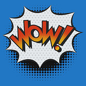WOW! Exclamation in Pop Art Style. Comic Wow text with White Burst Frame and Halftone Shadow Effect. Vector illustration.