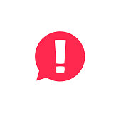 Exclamation mark in bubble speech vector icon, concept os attention or warning sign, hazard or caution alert message, danger information or risk info icon
