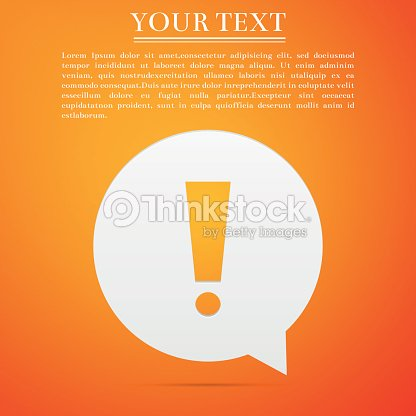 Exclamation mark in circle. Hazard warning symbol flat icon on orange background. Vector Illustration : stock vector