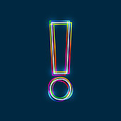 Exclamation mark - Vector multicolored outline font with glowing effect isolated on blue background. EPS10