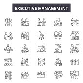 Executive management line icons, signs set, vector. Executive management outline concept illustration: executive,business,human,manager,people,management,work,employee