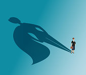 Executive woman with superhero shadow. Strong businesswoman and business victory vector concept. Woman superhero, female with cape, businesswoman leadership illustration