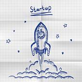 Exercise book sketch rocket startup. Creative idea for startup. Vector illustration