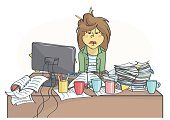 Exhausted, overworked business woman or a clerk sitting at messy office table, all in stress.