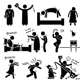 A set of human pictogram representing a girl being possessed by evil demon and how a priest become an exorcist and expel it during an exorcism ritual.
