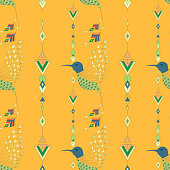 Exotic aztec birds seamless pattern. Geometric abstract tribal style. Vector illustration.