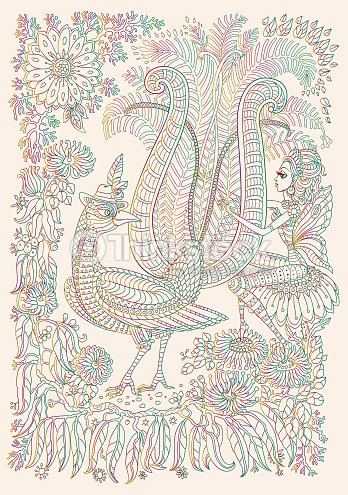 Aves Exóticas Flores Tropicales Fantásticos Rama Follaje Delgada ...