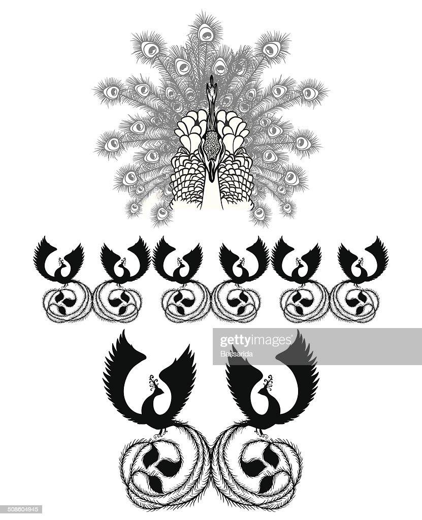 Pavão de Pássaro Exótico silhueta preto formas : Arte vetorial